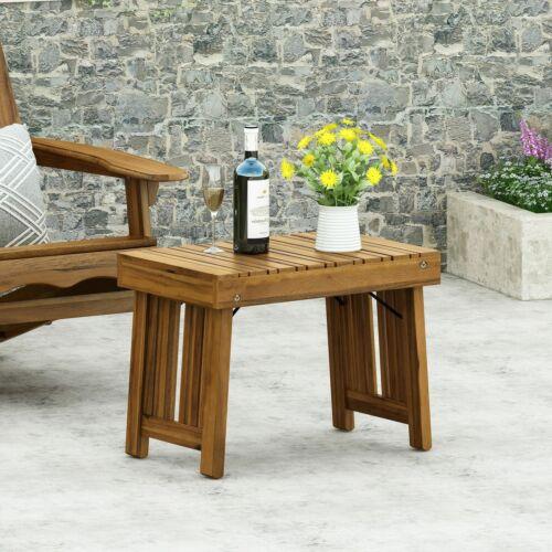 Karyme Outdoor Acacia Wood Folding Side Table Home & Garden