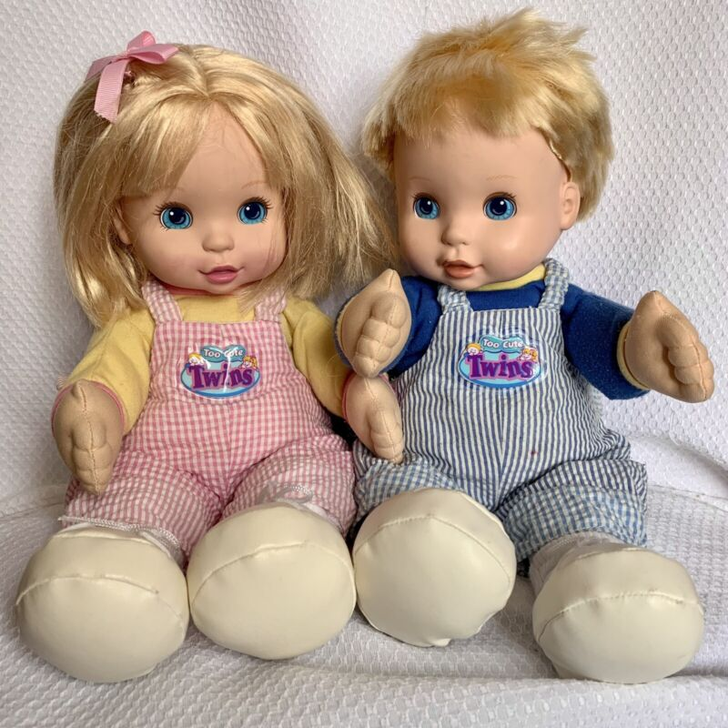 You & Me Too Cute Twin Dolls Interactive Boy & Girl Talk Move 2001 DSI Toys