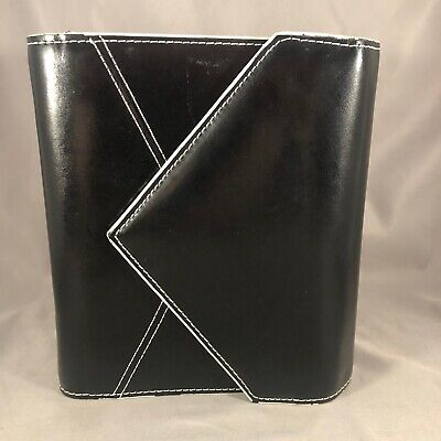 Franklin Covey Compact Black White Leather Envelope Planner Binder 6 Ring 1.25