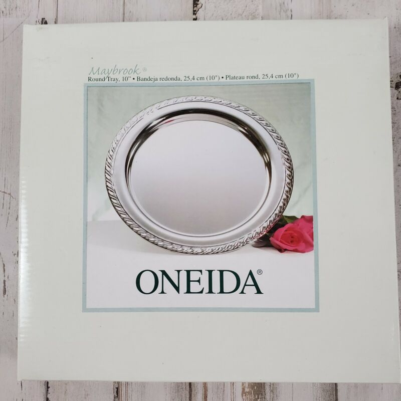 """Vintage Oneida Maybrook 10"""" Round Silver Plated Tray Brand New in Box (2001)"""