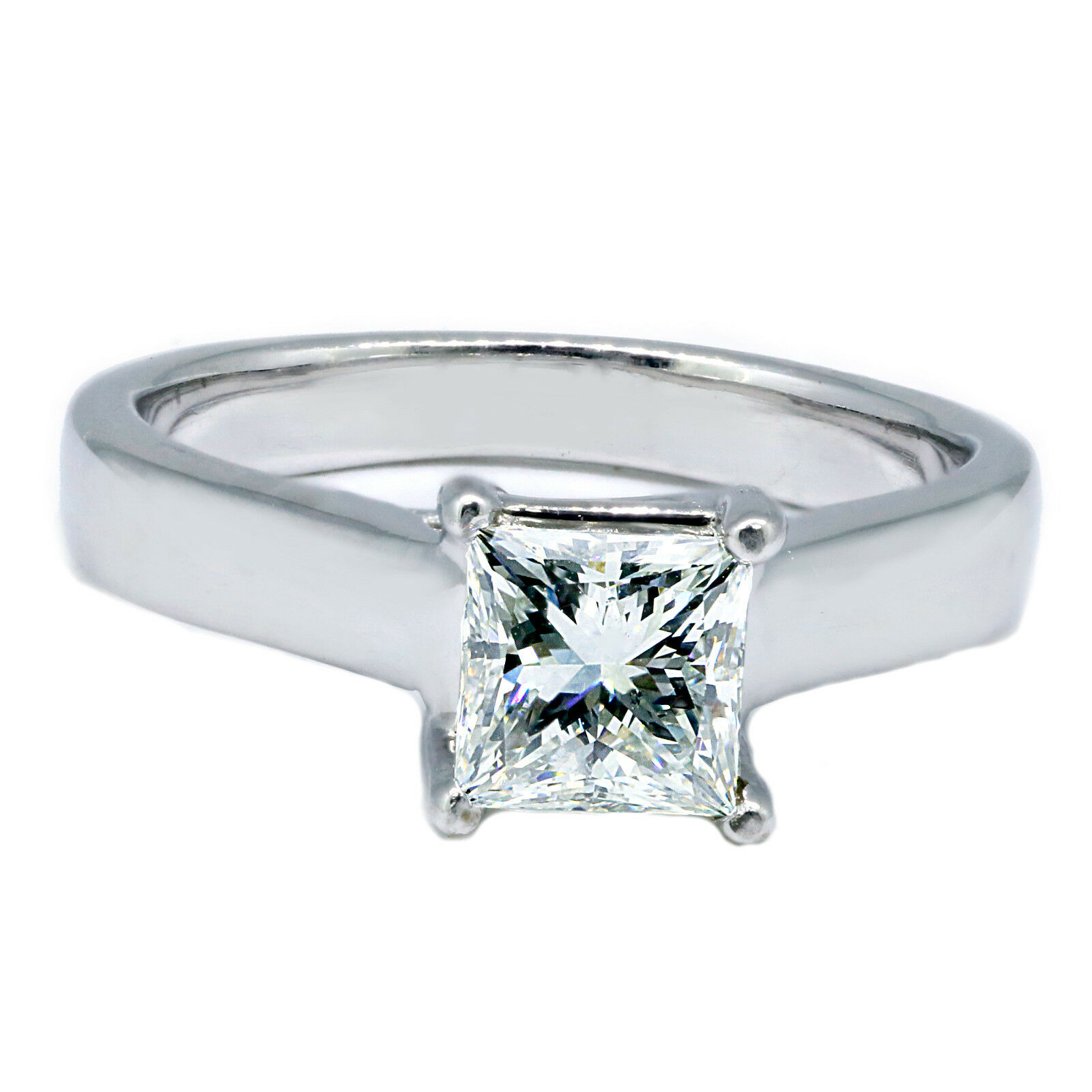 GIA Certified 0.70 ct Princess Cut Diamond Solitaire Engagement Ring F SI1