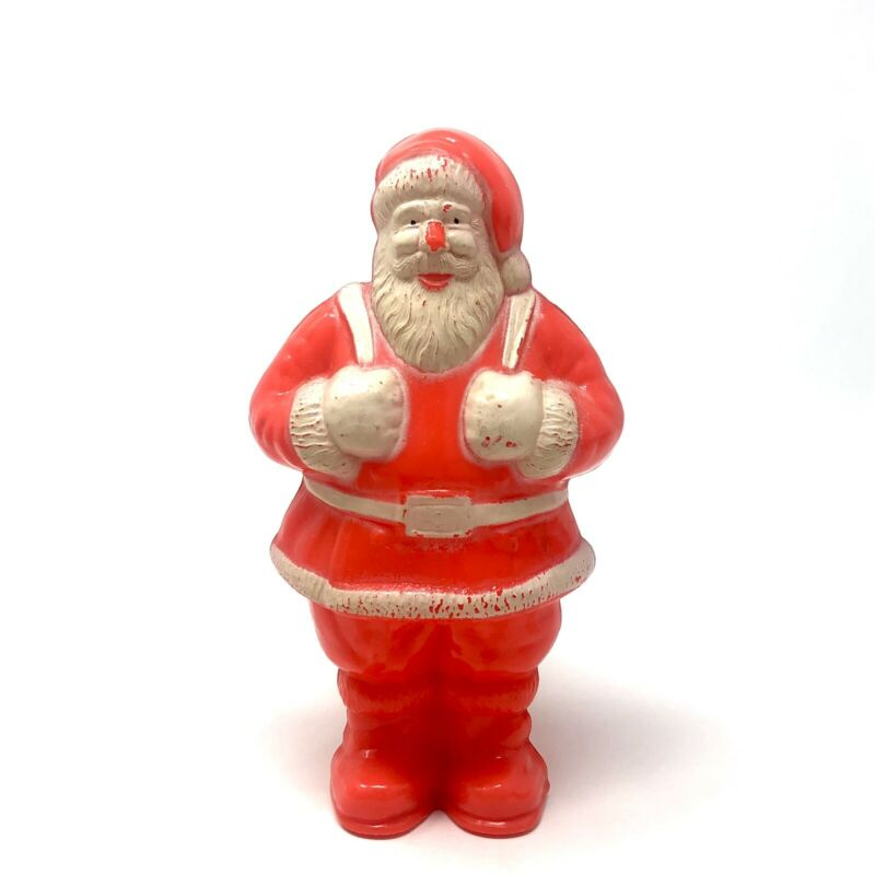 Vintage Irwin Christmas Santa Claus Red Plastic Candy Container Figure Decor