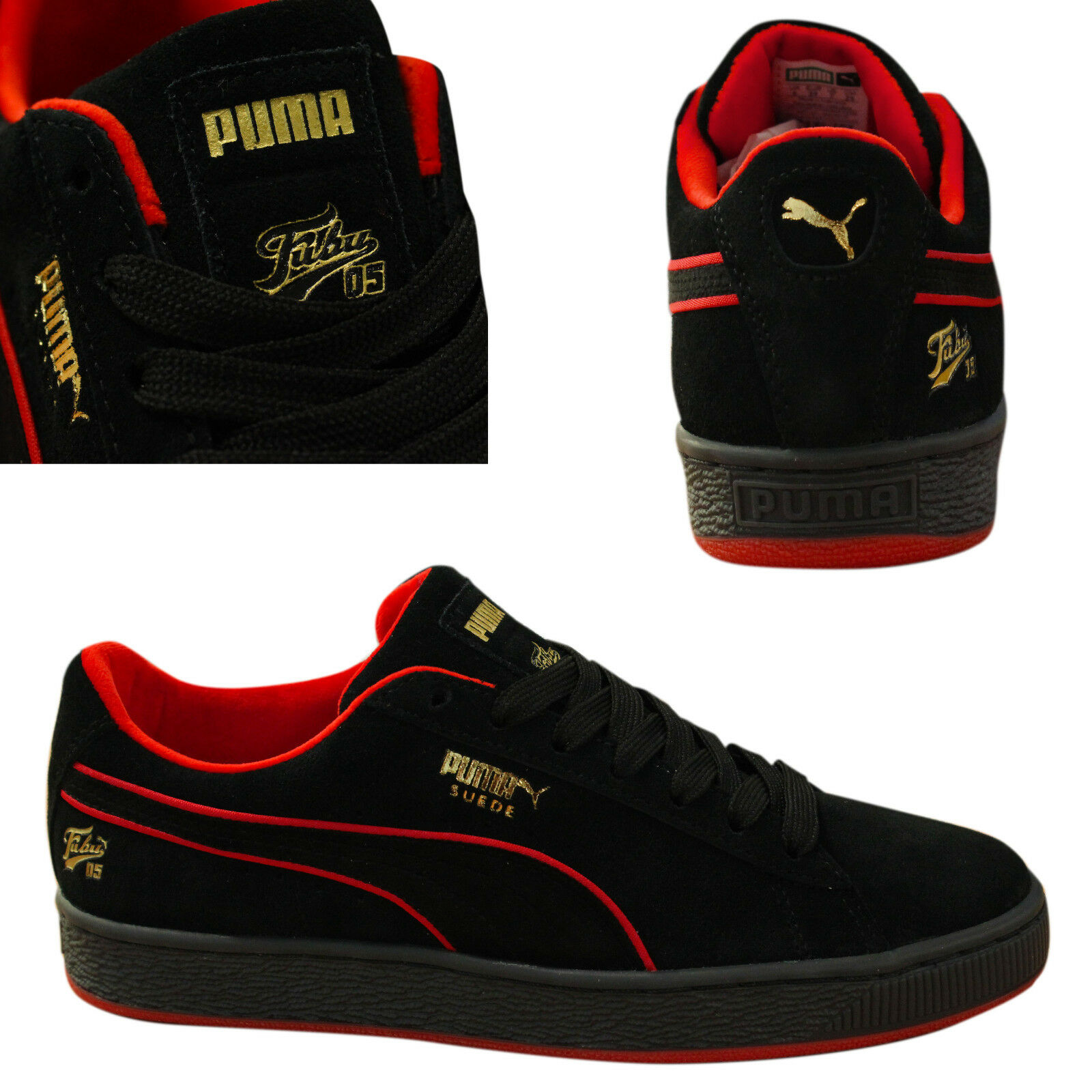 1e58dd625a0 Details about Puma Suede Classic x Fubu Lace Up Mens Trainers Leather Black  366320 02 Q4B