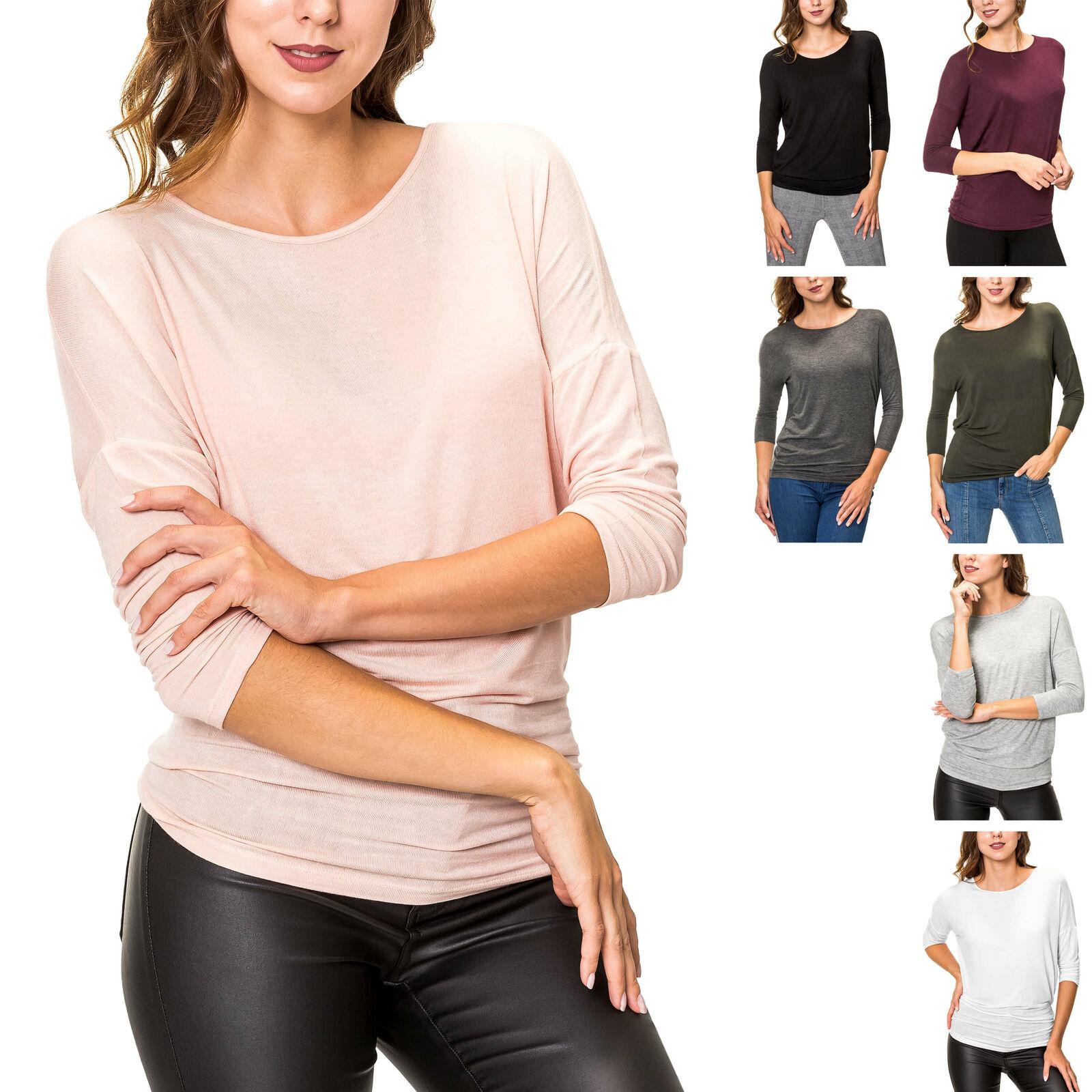 Pieces Damen Langarmshirt T-Shirt Shirt Basic O-Neck Damenshirt Langarmtop Top