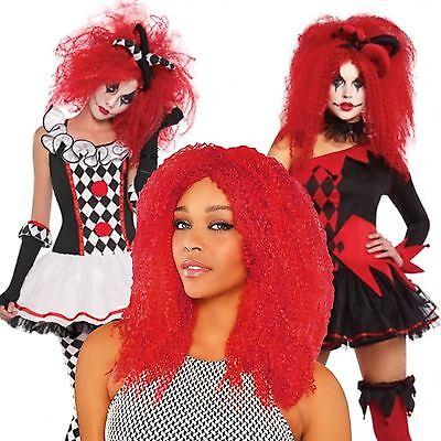 Erwachsene Rot Gekräuselte Perücke Harlekin Honig Jesterina Kostüm Verkleidung