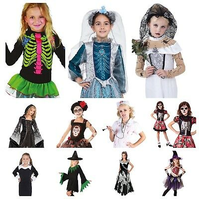 Scary Vampire Halloween Costumes (KIDS GIRLS SCARY ZOMBIE VAMPIRE SKELETON WITCH GHOST 20+ HALLOWEEN)
