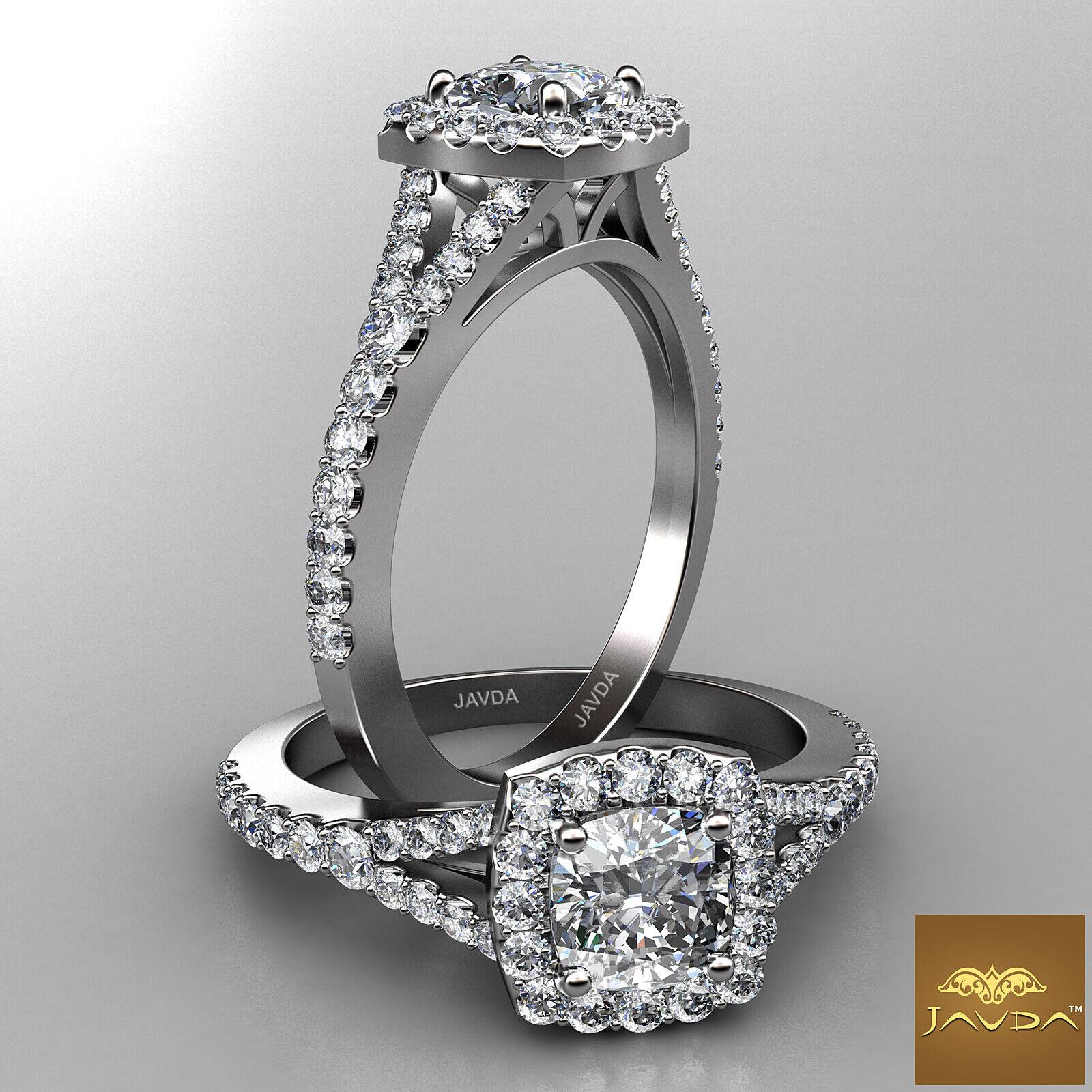 Halo Split Shank French Pave Set Cushion Diamond Engagement Ring GIA F VS1 1 Ct