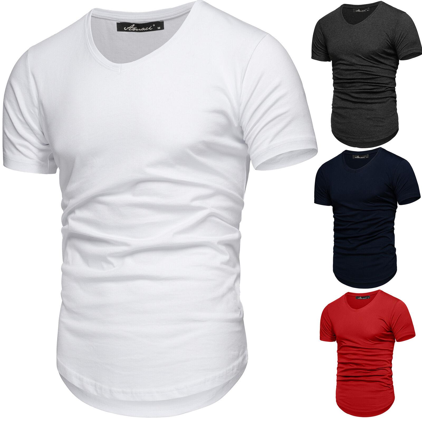 Oversize Herren Slim-Fit V-Neck Basic T-Shirt V-Ausschnitt Oval Tee 1-0003