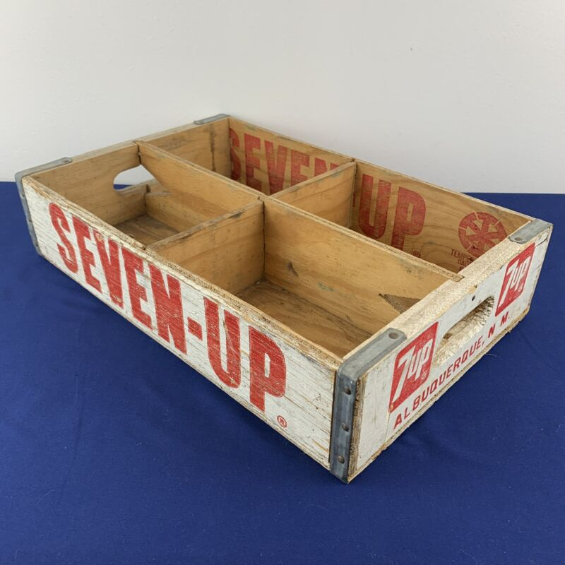 Vintage 7 Up Wooden White Soda Pop Crate Carrier Box Case Wood Albuquerque NM