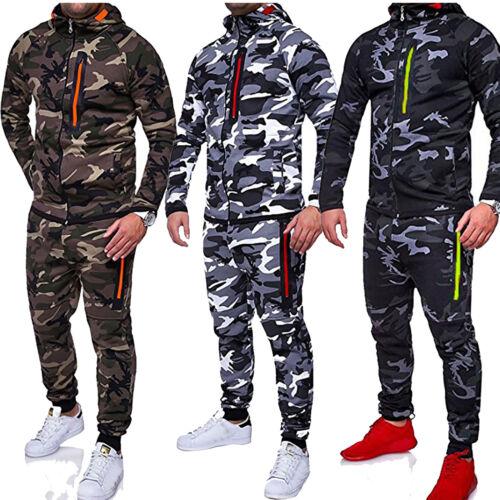 Herren Camo Sportanzug Trainingsanzug Jogging Kapuzen Jacke Sweatshirt + Hose