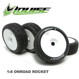 4 x LOUISE 1/8 ON ROAD BUGGY TRUGGY WHEEL & TYRE B-Rocket KYOSHO Inferno GT HSP