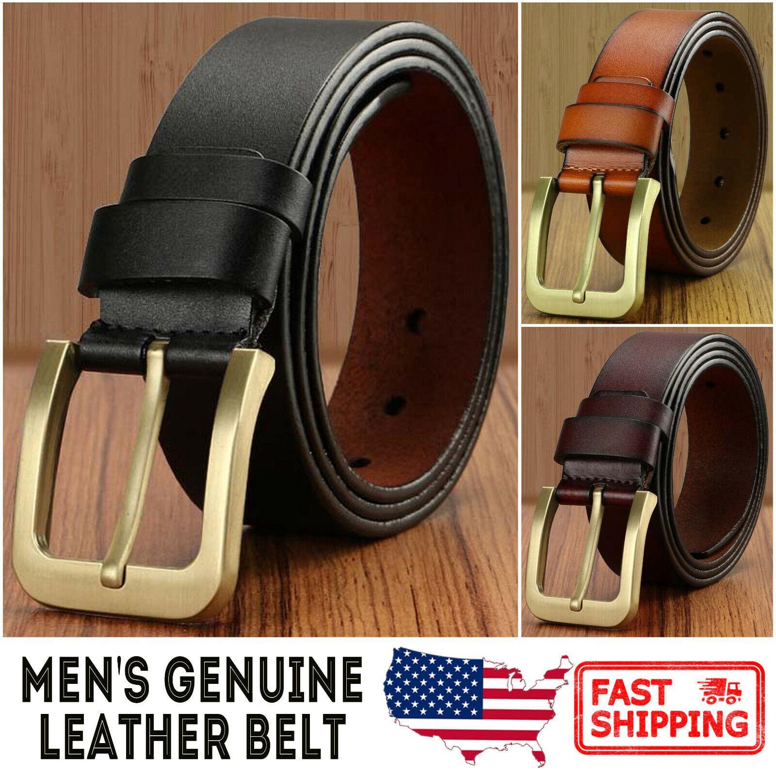 Men's Genuine Leather Vintage Gold Color Metal Buckle Jean Belt Belts