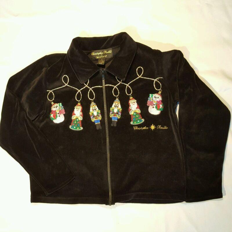 Christopher Radko Ornaments Bellepointe Christmas Sweater Jacket S Velour