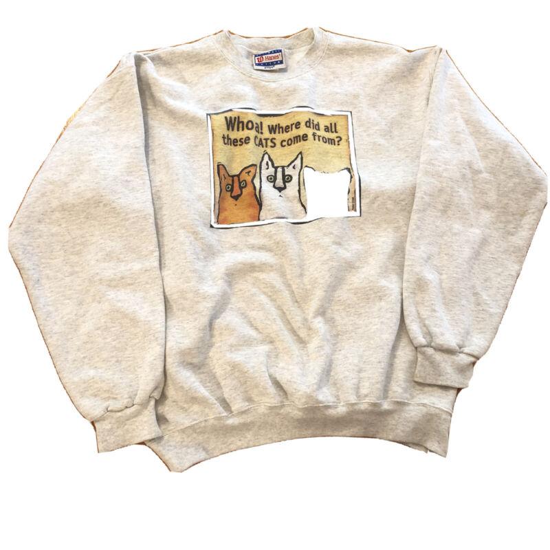 Vtg Cat Comic Strip Sweater Sweatshirt Pullover Hanes Funny Medium