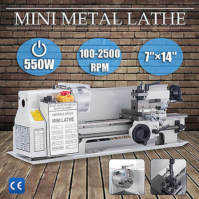 "7"" x 14""Mini Metal Lathe Machine 550W Variable Speed w/ Heat-Treated Lathe Bed"