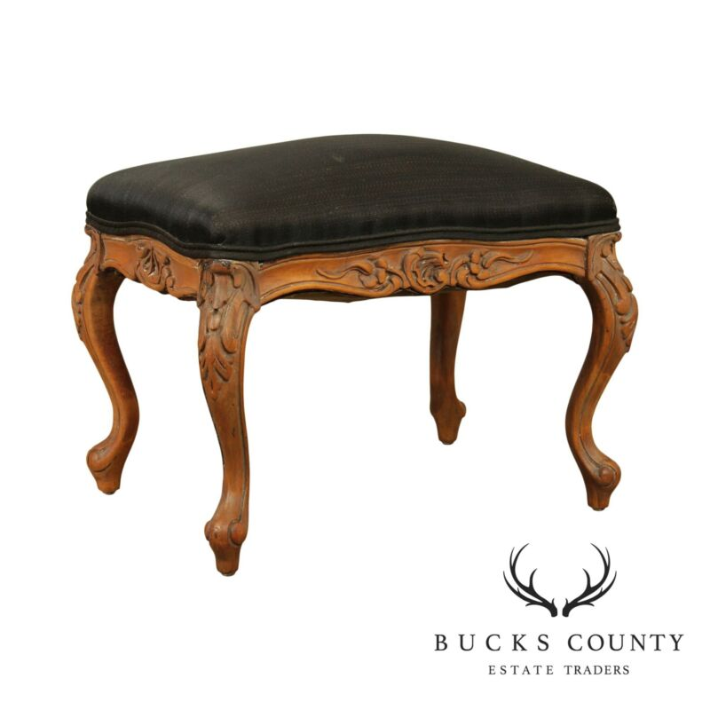 French Louis XV Style Antique Carved Footstool