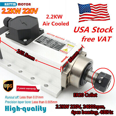 Square 2.2kw Er20 Air Cooled Spindle Motor 4 Bearing 24000rpm For Cnc Routerus