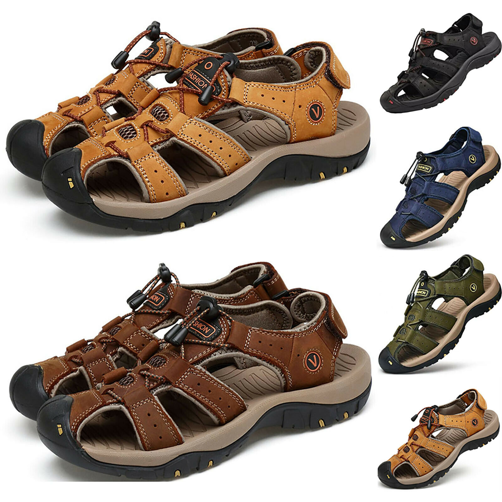 Men's Summer Hiking Leather Sandals Wading Closed Toe Fisherman Soft Beach Shoes