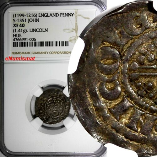 ENGLAND John (1199-1216) Silver 1 Penny Short Cross Lincoln Mint NGC XF40 S-1351