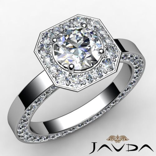 Halo Pave Round Diamond Dazzling Engagement Ring GIA F-VS2 14k White Gold 2.87ct