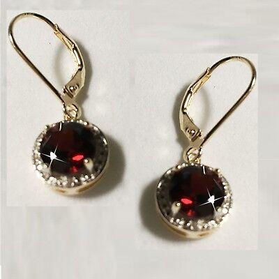 Red Garnet Tiny Diamond Leverback Dangle Earrings 14k Yellow Gold over 925 -