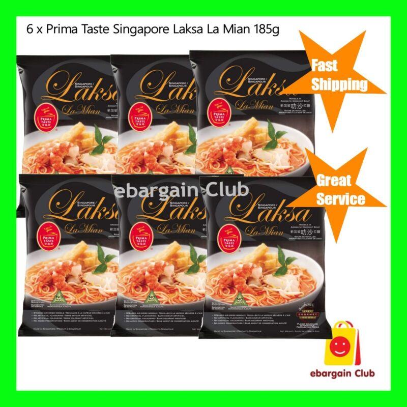 6 x Prima Taste Singapore Laksa La Mian Instant Noodle 185g Made in Singapore