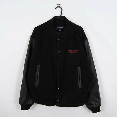 Vintage USA Wool & Leather Bomber Baseball Varsity Jacket Black Size L Retro 90s