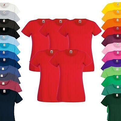 Set Kurzer Arm (5er Pack - Fruit of the Loom T-Shirt - Damen Rundhals Kurzarm - XS-2XL - Sparset)
