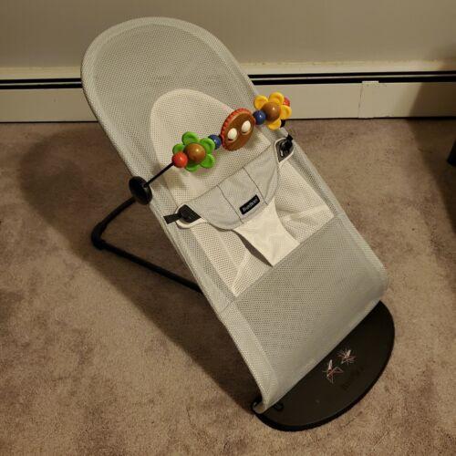 Baby Bjorn Bouncer Balance Soft BabyBjorn Silver Mesh Wooden Googly Eye Toy - $112.50