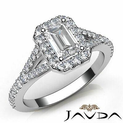Split Shank Halo French Pave Emerald Shape Diamond Engagement Ring GIA F VS2 1Ct