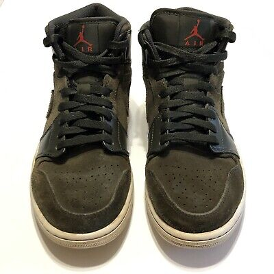 Nike Air Jordan 1 Mid Sequoia Size 9 Gray Suede Basketball Shoes 554724-302