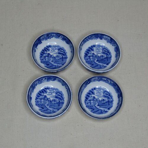 Vtg Enoch Woods Blue English Scene Woodware Open Salt Cellar Dish Set of 4 MP208