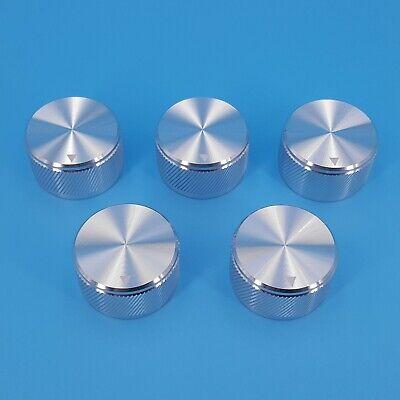 5pcs Silver 30 X 17mm Solid Aluminum 6mm Dia Rotary Control Potentiometer Knob