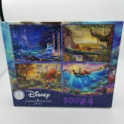 Disney Thomas Kinkade 4-in-1 Puzzles 500 Pc Mickey Mermaid Lion King Cinderella