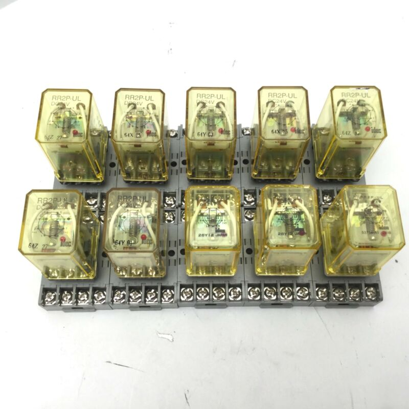 Lot of 10 IDEC RR2P-UL DC24V Power Relays With SR2P-06 Din Rail Mount 10A, 300V