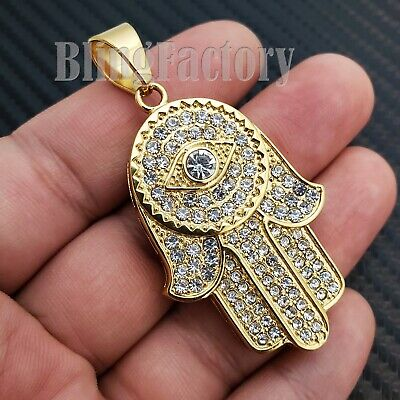 HIP HOP STAINLESS STEEL ICED LAB DIAMOND GOLD PLATED HAMSA HAND PENDANT S-05
