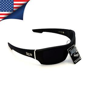 New Men's Locs Sunglasses Matte Black Frame with Very Dark Lenses Biker Shades