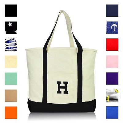 DALIX Initial Tote Bag Personalized Monogram Zippered Top Letter - H](Initial Tote Bags)