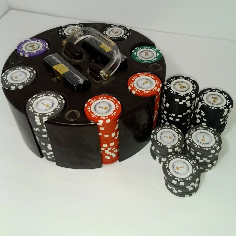 Vintage Bakelite Poker Chip Carousel With 260 PC Monte Carlo Poker 14oz Chips