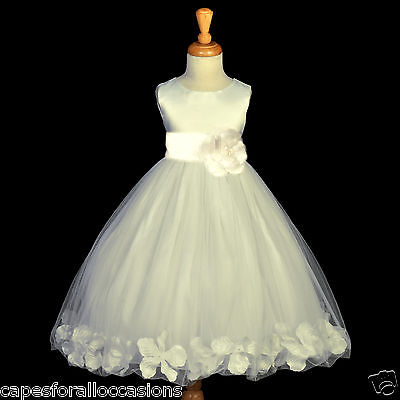 IVORY COMMUNION PAGEANT EASTER WEDDING PETAL FLOWER GIRL DRESS 12-18M 2 4 6 8 -