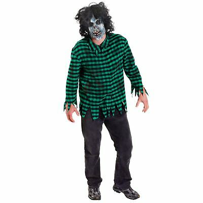 Mens Boys M/L Halloween Horror Zombie Mask with Wig and Green Ripped Top Shirt - Halloween Zombie Ripped Clothes