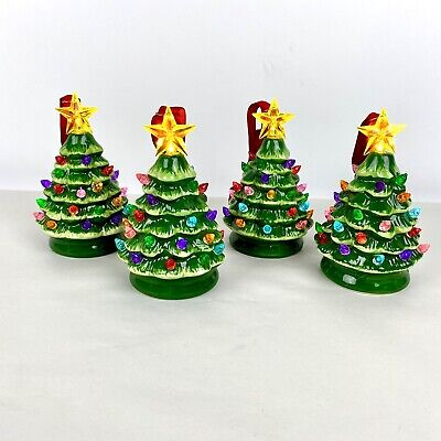 Set of 4 Mr. Christmas Electronic Lighted Christmas Tree Ornaments Green Ceramic