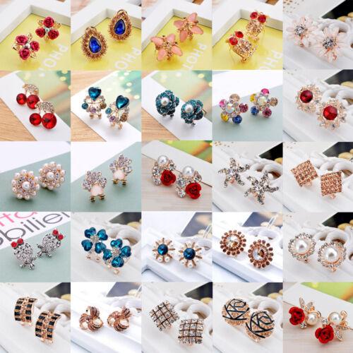 Earrings - Elegant Fashion Women Gold Silver Crystal Rhinestone Flower Ear Stud Earrings