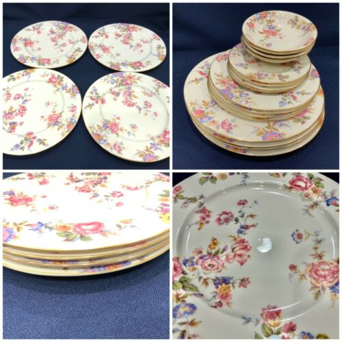"Set of 4 Castleton China Sunny Brooke Dinner Plates  10.75 3/4"" pink blue white"