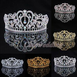 Crystal-Wedding-Tiara-Crown-Veil-Headband-Prom-Pageant-Princess-Crowns-Headpiece