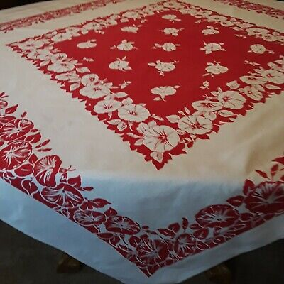 "Vintage Cotton Printed Tablecloth Red White Floral 48"" x 48"" Morning Glories"