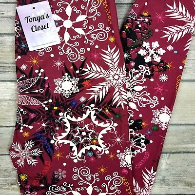 PLUS 2018 Snowflake Holiday Leggings Christmas Print Buttery Soft Curvy 10-18 TC