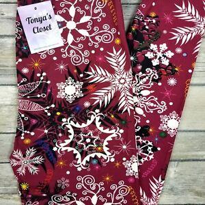 350368621e7f02 PLUS 2018 Snowflake Holiday Leggings Christmas Print Buttery Soft Curvy  10-18 TC. NWT Lularoe - Medium Carly ...