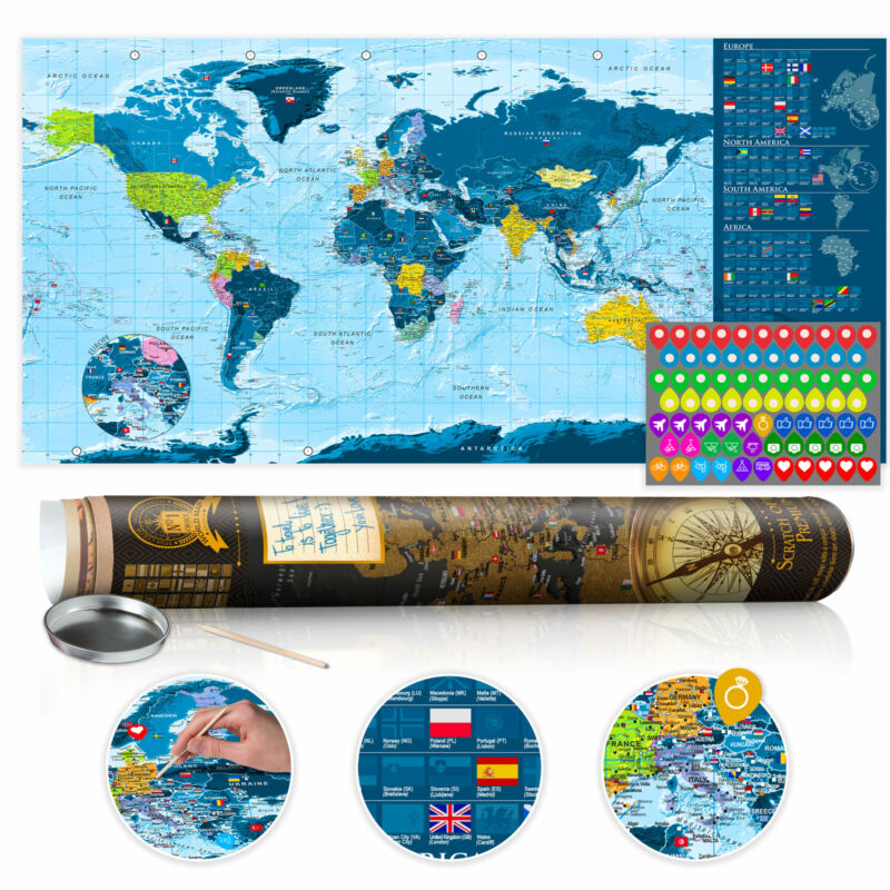 """Scratch Off World Map 39""""x17"""" Wall Poster Map for Scratching Travel k-A-0217-o-b"""