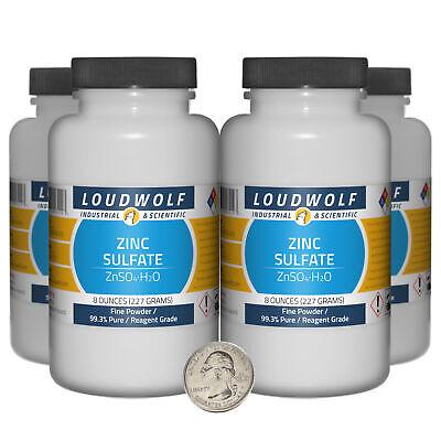 Zinc Sulfate 2 Pounds 4 Bottles 99.3 Pure Reagent Grade Fine Powder